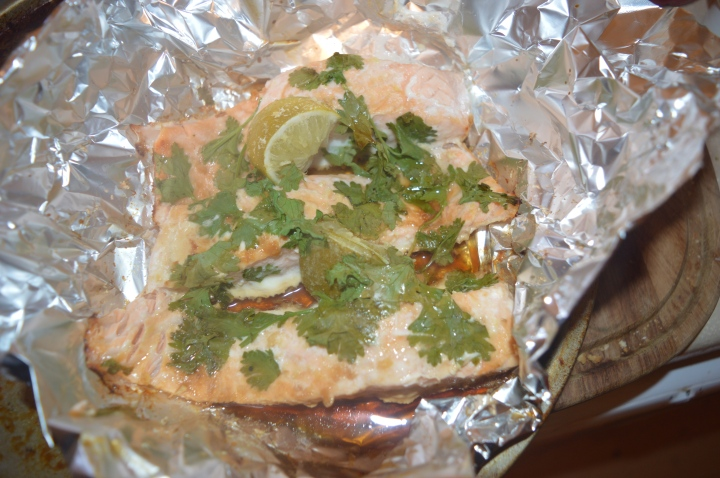 Salmon with ginger coriander and lime