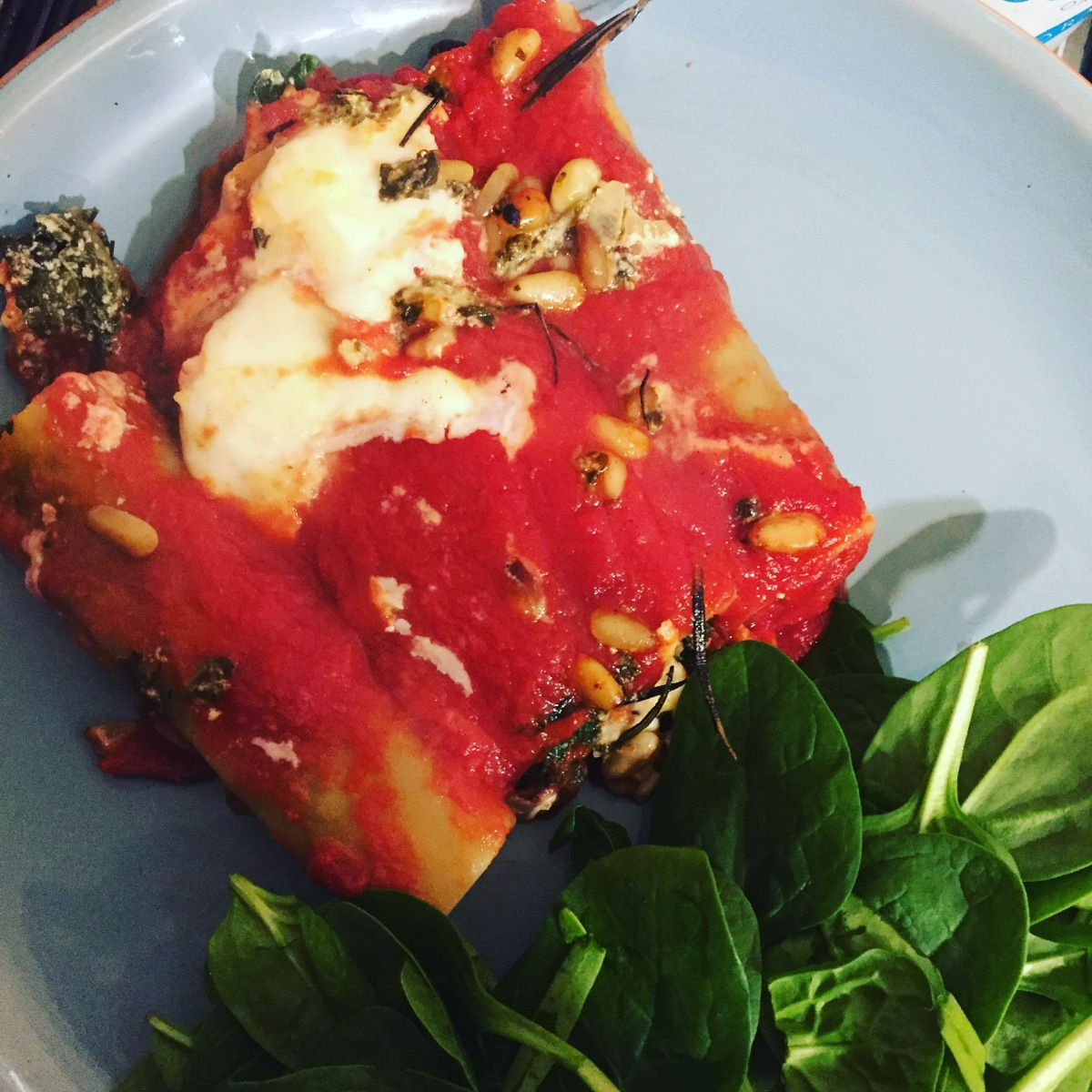 Spinach, goats cheese and pine nut cannelloni