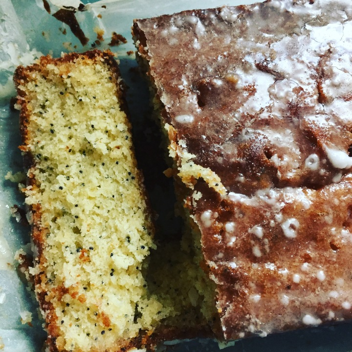 Lemon curd and poppy seed drizzle cake