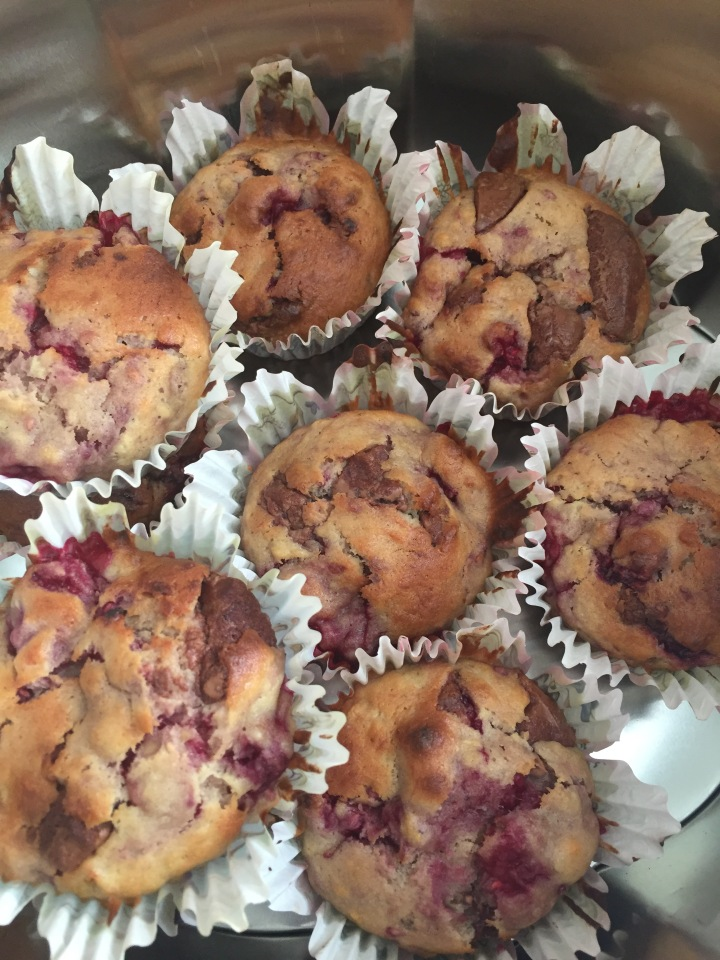 Banana, chocolate and raspberry muffins
